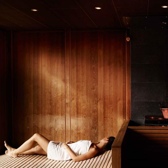 relaxing in the sauna